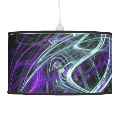 Light Within, Abstract Fractal Violet Indigo Swirl Ceiling Lamp