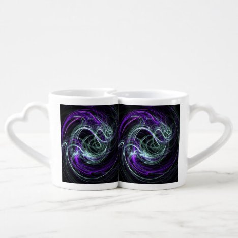 Light Within, Abstract Fractal Violet Indigo Swirl Coffee Mug Set