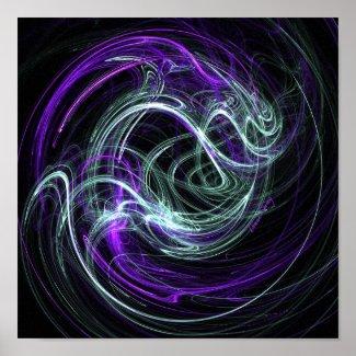 Light Within - Violet & Indigo Swirls on Canvas Poster