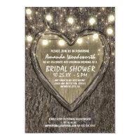 Lights Oak Tree Bark Bridal Shower Invitations