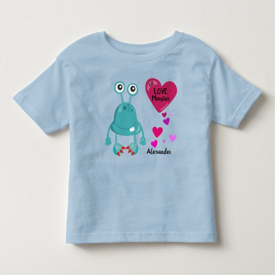 Lil Love Monster Blue with Hearts | Valentine's Toddler T-shirt