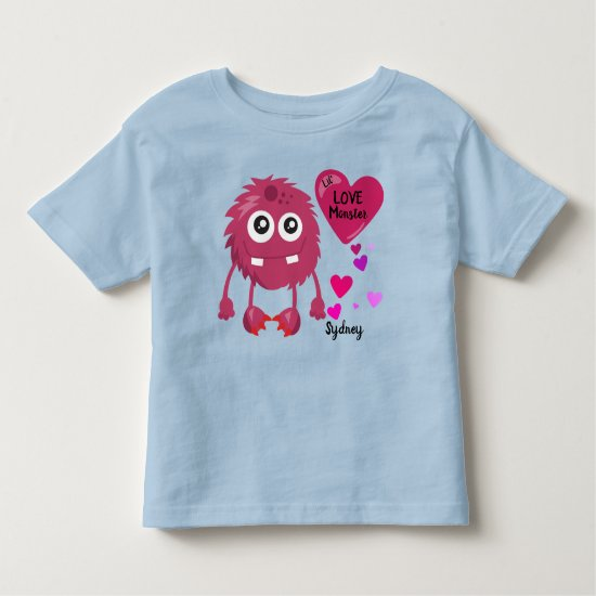 Lil Love Monster Red with Hearts | Valentine's Toddler T-shirt