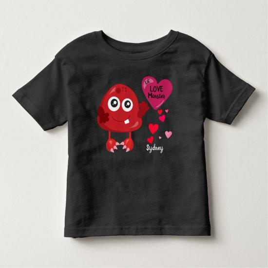 Lil Red Love Monster with Hearts | Valentine's Toddler T-shirt