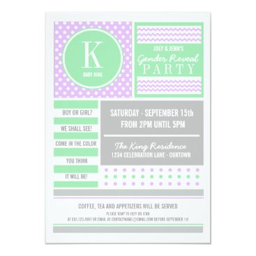 Lilac & Lime Gender Reveal Party Invitation