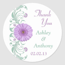 Lilac Purple Mint Floral Wedding Thank You Favor