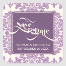 Lilac Purple Modern Vintage Save The Date Sticker
