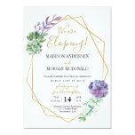 Lilac succulents Elopement reception invitation