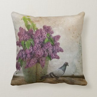 Lilacs in an old Rusty Bucket Throw Pillow