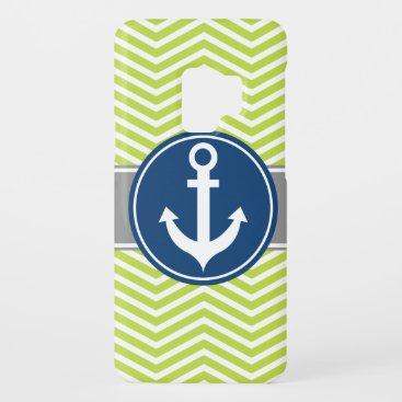Lime Green Nautical Anchor Chevron Case-Mate Samsung Galaxy S9 Case