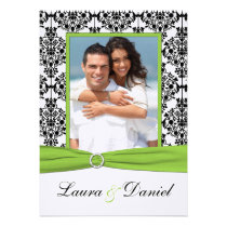 Lime, White, Black Damask Photo Wedding Invite