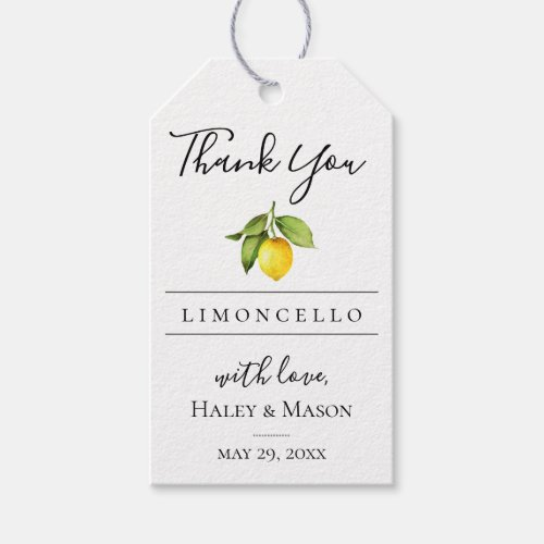 Limoncello Favor Thank You Gift Tag