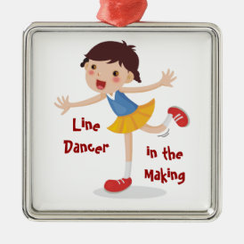 Line Dancer in the Making! - Girl Metal Ornament