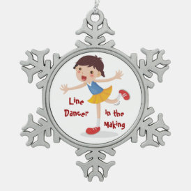 Line Dancer in the Making! - Girl Snowflake Pewter Christmas Ornament
