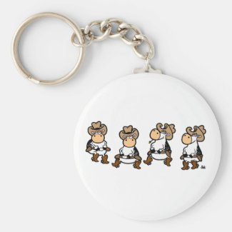 Linedancing Cows Keychain