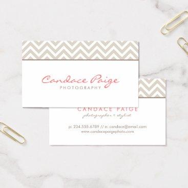 Linen Beige Modern Chevron Stripes Business Card