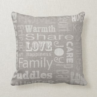 Linen-look love home pillow