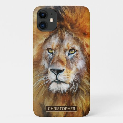 Lion Digital Oil Painting | Add Your Name iPhone 11 Case