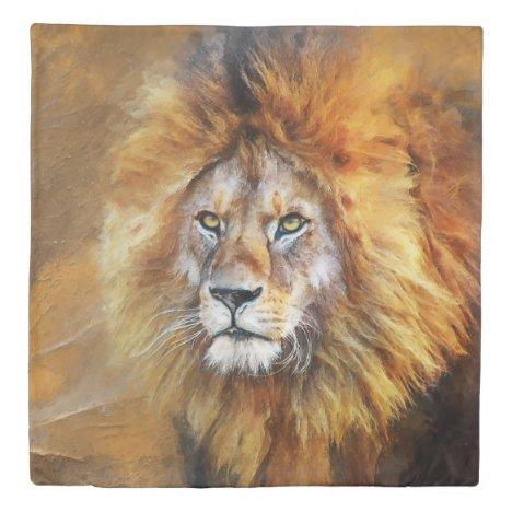 Lion Digital Oil Painting Duvet Cover