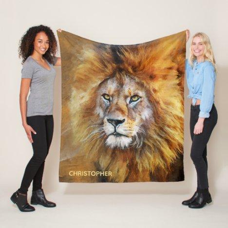 Lion Digital Oil Painting Personalized Fleece Blanket