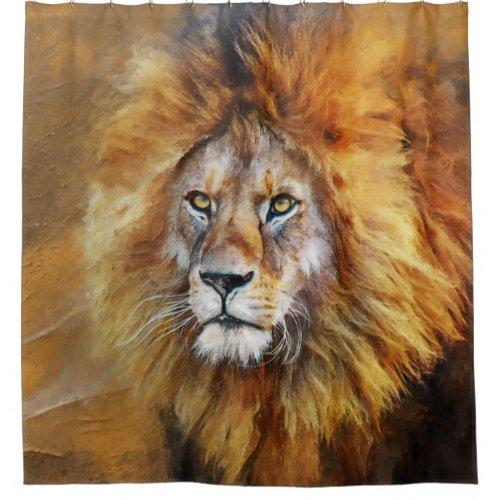 Lion Digital Oil Painting Shower Curtain