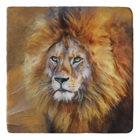 Lion Digital Oil Painting Trivet