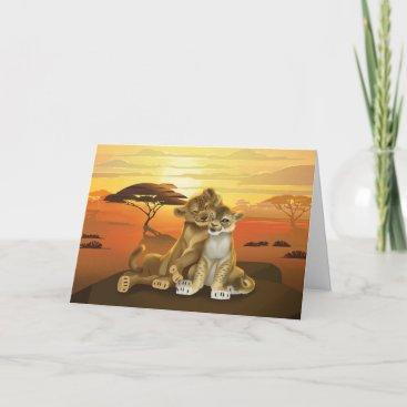 Lion King   Simba & Nala At Sunset Card