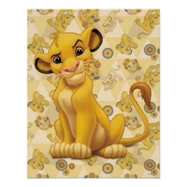 Lion King | Simba on Triangle Pattern Poster