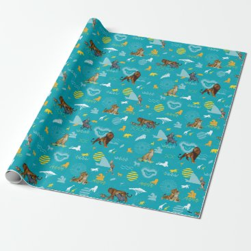 Lion King   Teal Characters & Icons Pattern Wrapping Paper