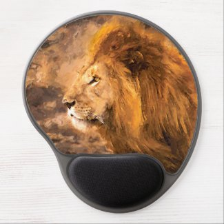 Lion Painting Golden King Art Gel Mouse Pad