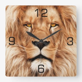 Lion The King Photo Painting Square Wall Clock