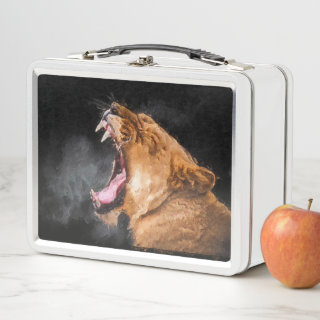 Lioness Roaring Art Portrait Metal Lunch Box