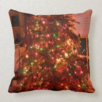Lit Christmas Tree Throw Pillow