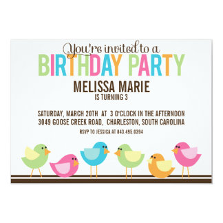 Little Birds Birthday Party Invitation by Cranberry Design