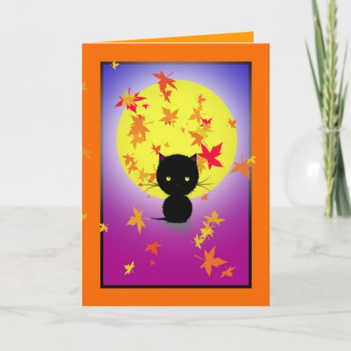 Little Black Cat and Autumn Leaves Halloween Card
