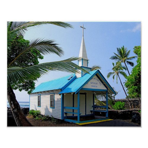 Little Blue and White Church in Hawaii Print