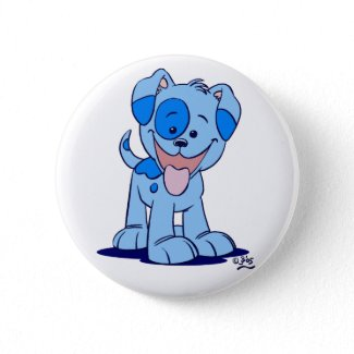 Little blue puppy button badge button
