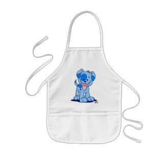 Little blue puppy cooking apron apron