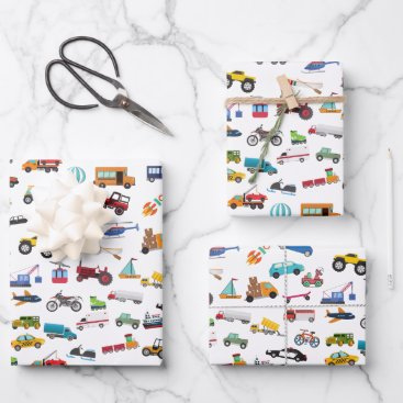 Little Boy Things That Move Vehicle Cars Kid Wrapping Paper Sheets