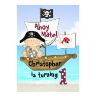 Little Buccaneer 1st Birthday Pirate Invitation