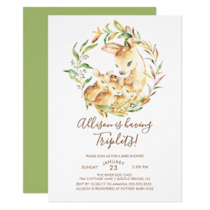 Little Deer Triplets Baby Shower Invitations