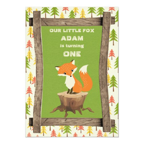 Little Fox Rustic Birthday Party Celebration Invitation
