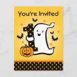 Little Ghost 1st Birthday Postcard Invitation