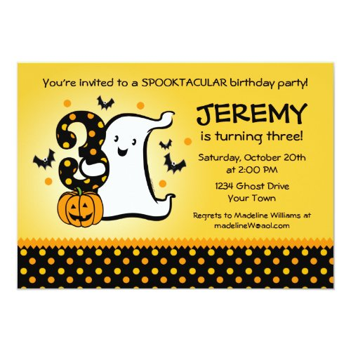 Little Ghost 3rd Birthday Invitation