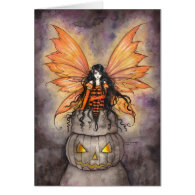 LIttle Halloween Fairy Fantasy Gothic Art Greeting Card