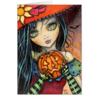 Little Halloween Witch Fantasy Art Cards