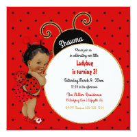 Little Ladybug African American Girl Red Black Card