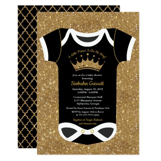 Little Prince Black Royal Gold Baby Shower Invitation