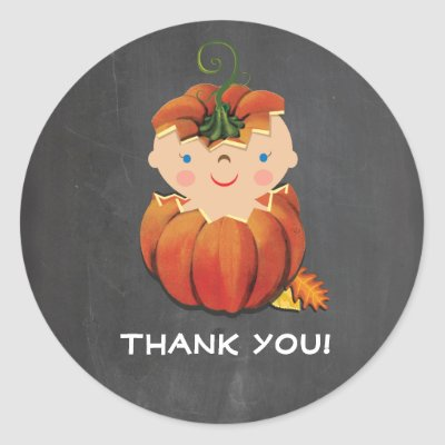 Little Pumpkin Baby Shower Stickers