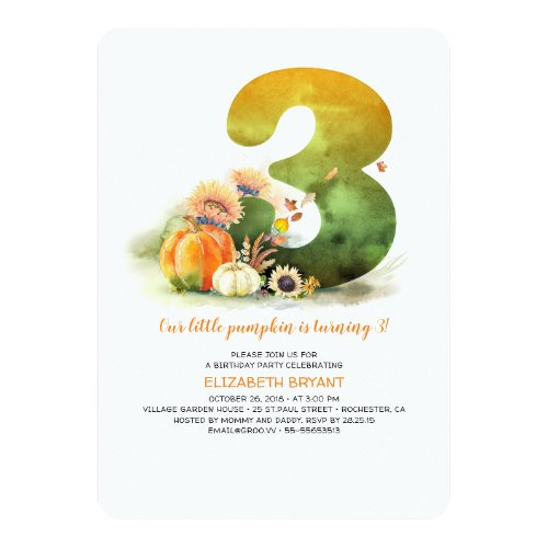 Little Pumpkin Fall 3rd Birthday Party Invitation