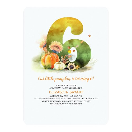 Little Pumpkin Fall 6th Birthday Party Invitation